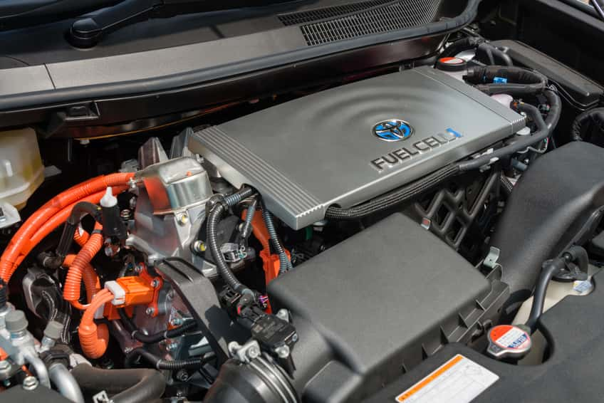 "Engine of a fuel cell vehicle ""Mirai"" made by Toyota"