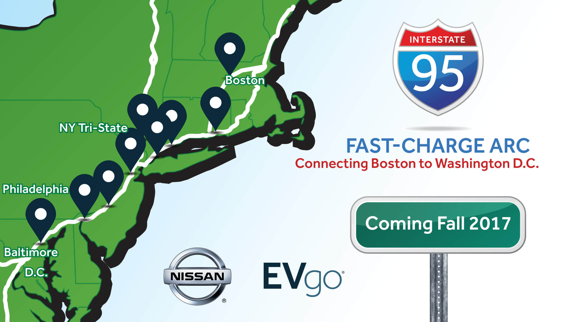 Nissan-EVgo-I95-ARC Nissan, EVgo Inter-City EV Charging Network to Span 500 Miles