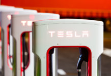 Brenner, Italy - May 8, 2016: Tesla charging stations are located throughout EU to accommodate owners of the electric car.