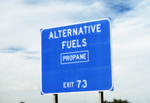 Highway sign telling of the availability of propane gas.