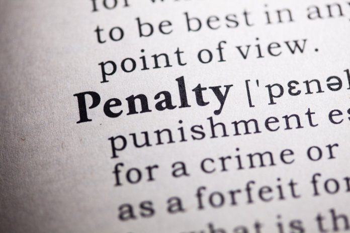 Dictionary definition of the word penalty.