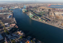 Afternoon aerial view of the main channel in the San Pedro area of Los Angeles harbor.